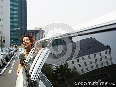 Tourist on limousine