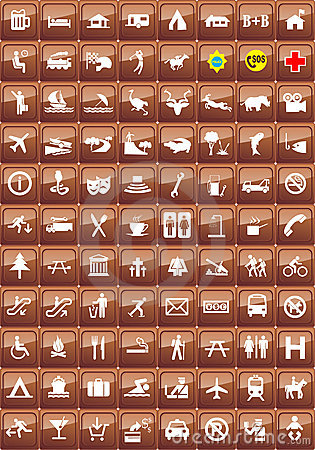 Free Tourist Locations Icon Set Stock Images - 10176754