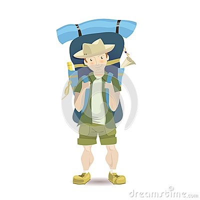 Free Tourist Man With A Big Backpack. Stock Photos - 56660993