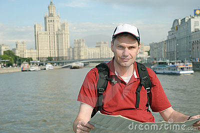 Tourist with Map in Moscow