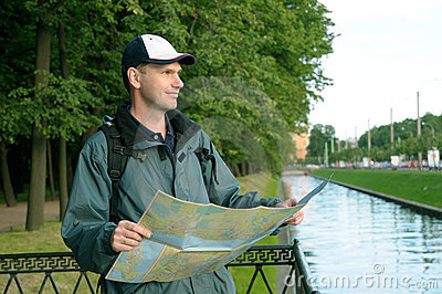 Tourist with Map in St. Petersburg