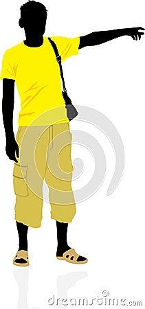 Tourist. Masculine silhouette