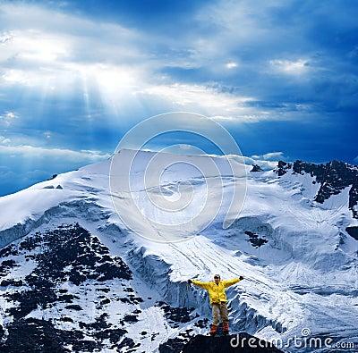 Tourist near a glacier