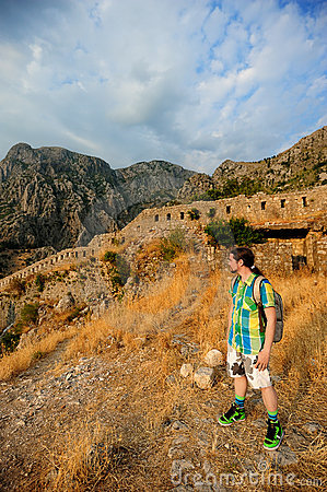 Tourist near the old fortress
