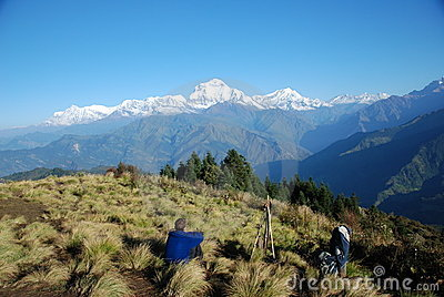 Tourist in Nepal enjoying the views