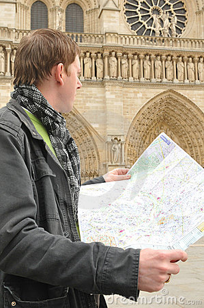 Tourist at Notre Dame, Paris