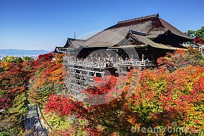Kiyomizu-dera Temple in Autumn Editorial Photo