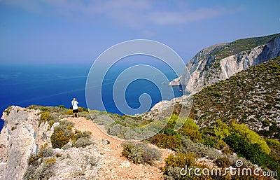 Tourist over bay at Zakynthos island