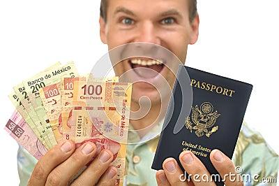 Tourist with pesos and passport