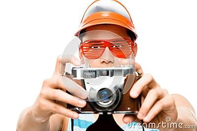 Tourist photographer taking photo