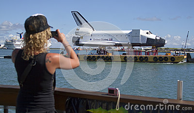 Tourist photographing space shuttle Editorial Image