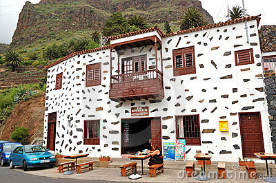 The tourist at restaurant on Teide volcano Editorial Image
