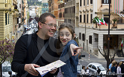 Tourist in rome with city map