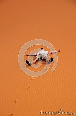 Tourist on a sand dunes