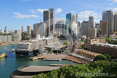 Australia/Sydney: Harbor with Cruise Ship Editorial Stock Photo