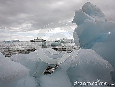 Tourist ship in Antarctica