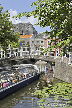 Tourist sightseeing boat in Delft