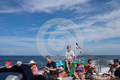 The tourist in sightseeing boat in phi phi island,thailand Editorial Image