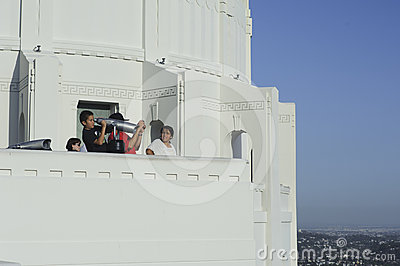 Tourist sightseeing at Griffith Observatory Editorial Photo