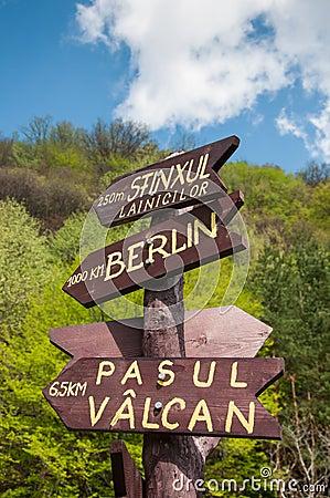 Tourist sign post showing various destinations