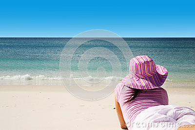 Tourist spending the day enjoying tropical beach