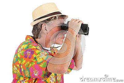Tourist with spyglasses