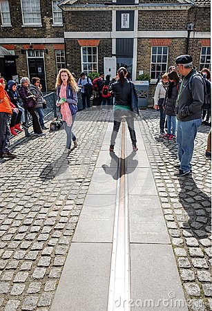 Free Tourist Stand Between East And West Of Prime Meridian Line In Royal Observatory Greenwich . Greenwich Is Notable For Its Name To T Royalty Free Stock Photography - 117685877