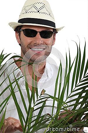 Tourist with straw hat