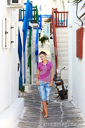 Tourist in a street of mykonos