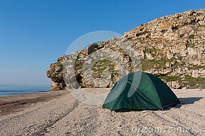 Tourist tent on sea