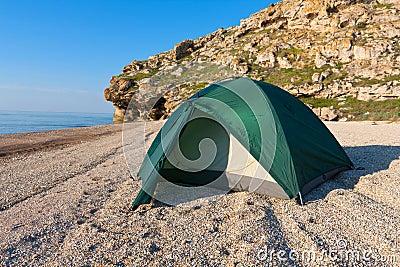 Tourist tent on sea beach