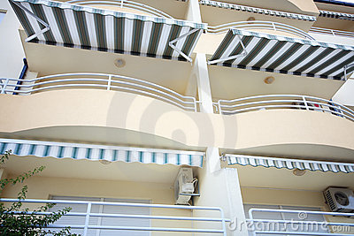 Tourist terrace balcony with tarpaulin