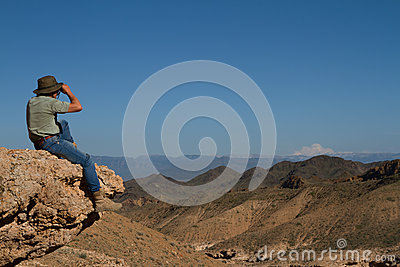 Tourist on the top of mountain