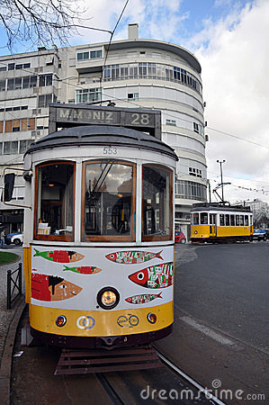 Tourist tram in lisbon Editorial Stock Image