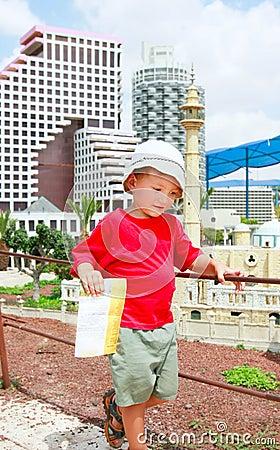 Tourist on travel destination background
