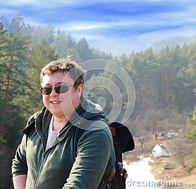 Tourist in the vicinity of Vilnius