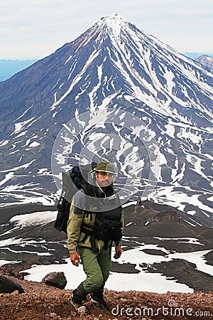 Tourist and  vulcano