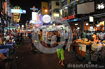 Tourist Walking Street in Bangkok Editorial Stock Image