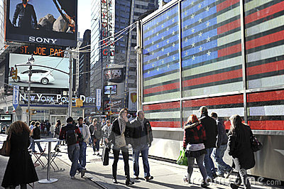 Tourist walking in Time Square, new York city Editorial Stock Photo