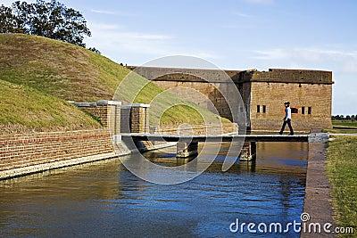 Tourist walking to Fort Pulaski