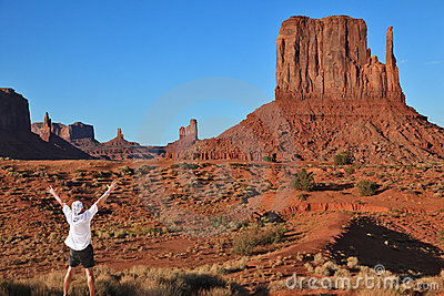 The tourist in a white shirt in Monument Valley