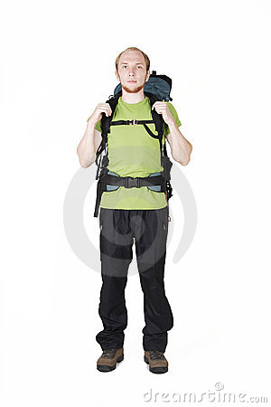 Free Tourist With Big Backpack Standing Royalty Free Stock Photos - 20291458