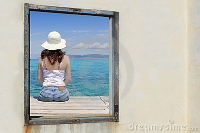 Tourist woman view window tropical sea turquoise