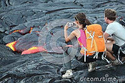 Touristes de lave d Hawaï