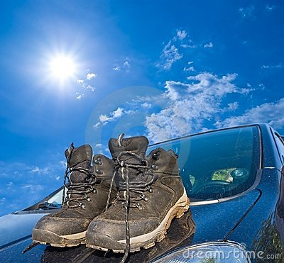 Touristic boots on  a car
