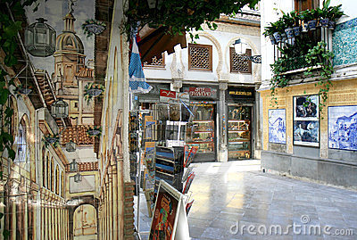 Touristic corner in Granada, Spain Editorial Photo