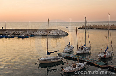 Touristic port of Giovinazzo at sunset.