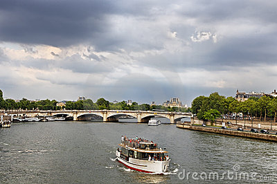 Touristic ship on Seine Editorial Stock Image