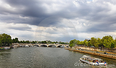 Touristic ship on Seine Editorial Image