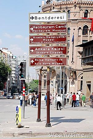 Touristic signs of Ankara Editorial Stock Image